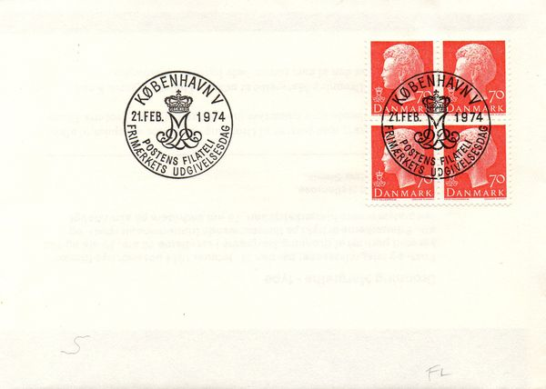 1974 (Feb.) Queen Margrethe 70ø Red Block of 4