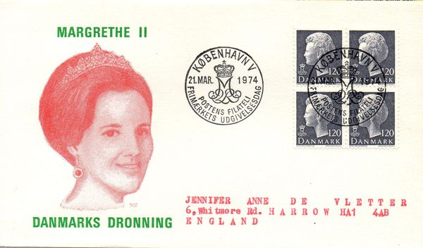 1974 (Mar.) Queen Margrethe 120ø Grey Block of 4
