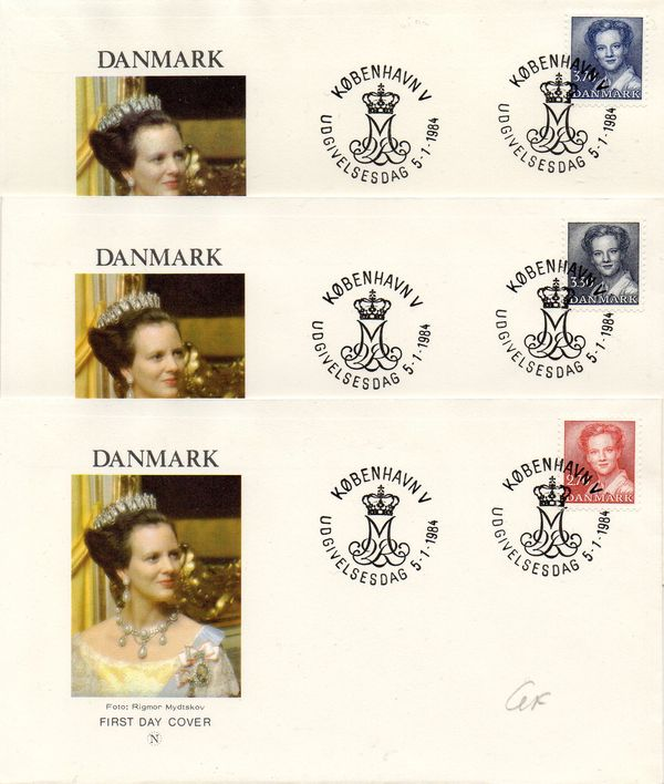 1984 Queen Margrethe 3v on 3 Covers