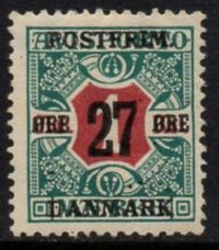 1918 27ø on 1 kr Red & Green