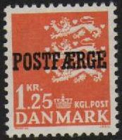 1965 1 Kr 25 Orange 'POSTFÆRGE' Overprint