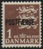 1967 1 Kr Brown 'POSTFÆRGE' Overprint