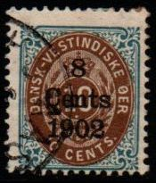 1902 8c on 10c Brown and Blue