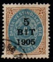 1905 5b on 4c Blue and Brown