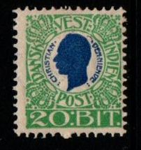 1905 Christian 9th 20b Blue and Green