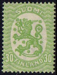 30p Yellow Green Perf 14½ x 15
