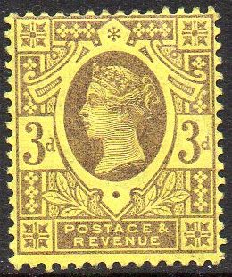 1887-1900 3d Purple & Yellow U/M