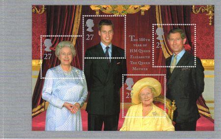 2000 Queen Mother 100th Birthday (Pane)