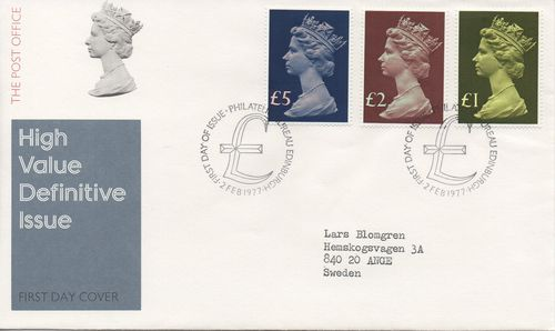 1977 High Value Definitives £1 - £5