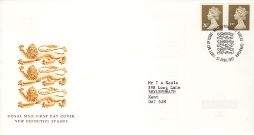 1997 1st & 26p Gold Definitives