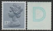 17p Grey Blue 'D' Underprint