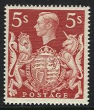 1939-48 Arms High Values 5/- Red U/M