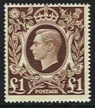 1939-48 Arms High Values £1 Brown U/M