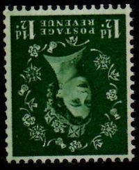 1½d Green (Wmk. Inverted)