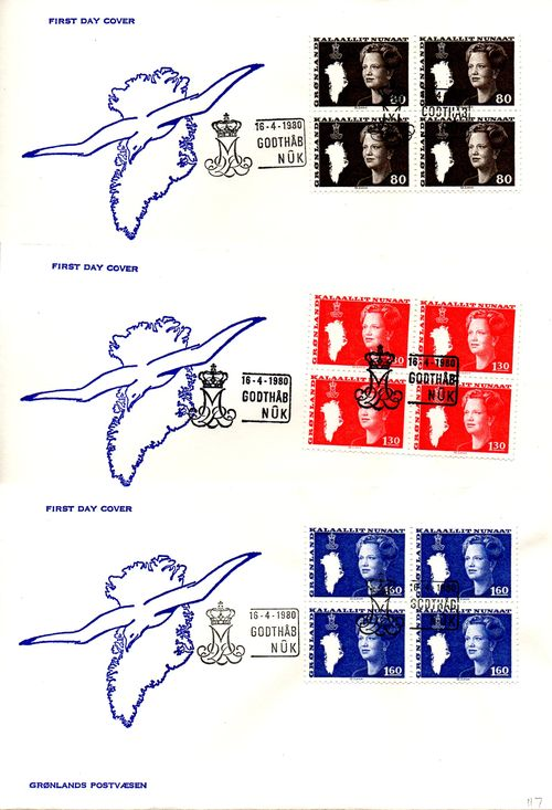 1980 Queen Margrethe Definitives (Official) 4 Blocks
