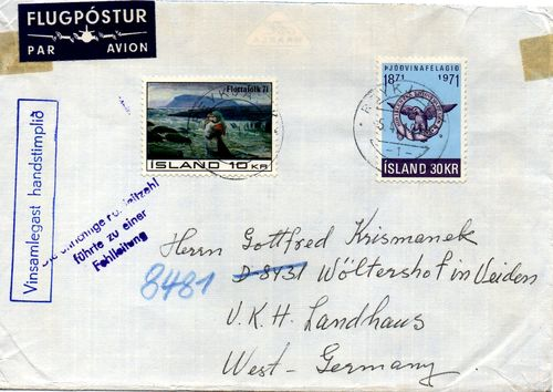 1972 Registered Cover to Germany