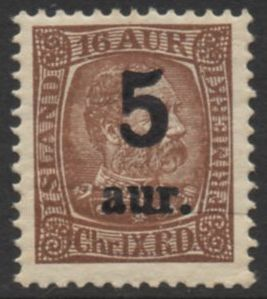 1922 5a on 16a Reddish Brown 1