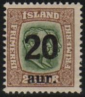 1922 20a on 25a Green & Brown 2