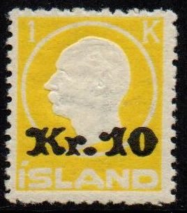 1924 10 Kr on 1 Kr Yellow
