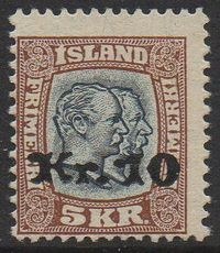1930 10 Kr on 5 Kr Slate & Brown