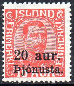 1923 20a on 10a Scarlet Official Overprint