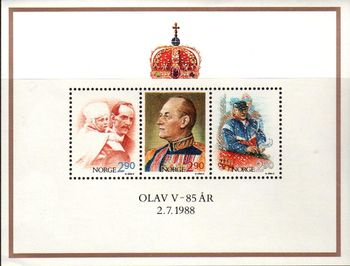 1988 King Olav V Birthday M/S