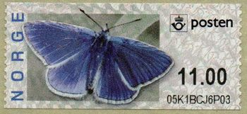 Butterfly Labels Common Blue 11.00 Kr.