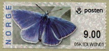 Butterfly Labels Common Blue 9.00 Kr.