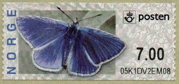 Butterfly Labels Common Blue 7.00 Kr.