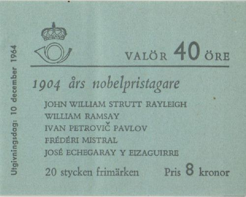 1964 Nobel Prize Winners of 1904 (8 Kr)