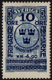 10ø + 4 Kr. 90 on 5 Kr Blue