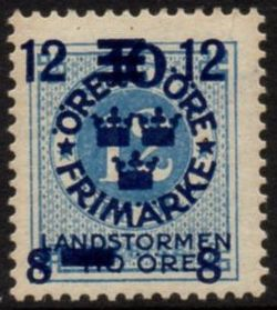 Overprint on 12ø Blue