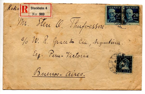 1923 Registered Cover Stockholm - Argentina
