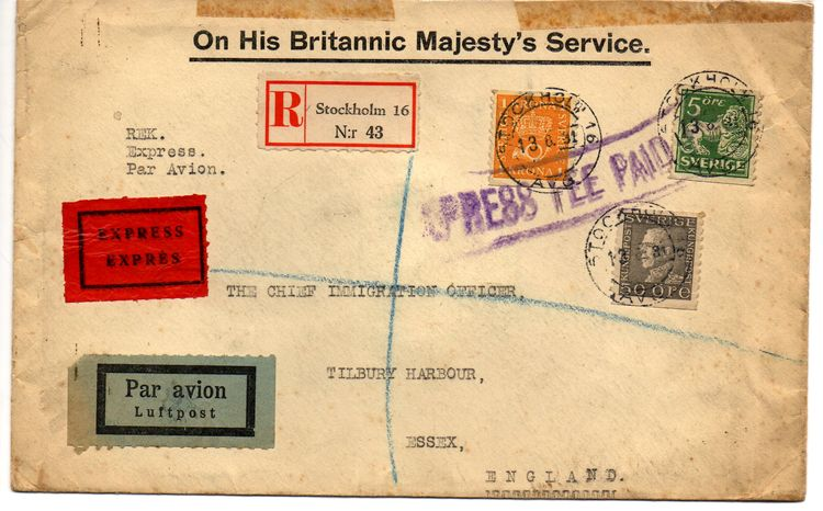 1931 Registered Cover Stockholm to England