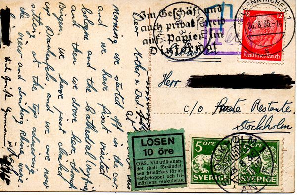 1935 PPC Germany - Stockholm Postage Underpaid