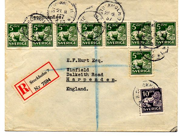 1937 Registered Cover Stockholm to England