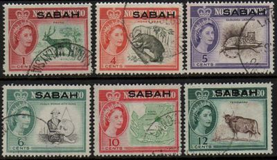 1961 Sabah Low Value Definitives (F/U)