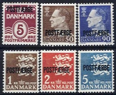 1967-74 Parcel Post 'POSTFÆRGE' Set (6v)