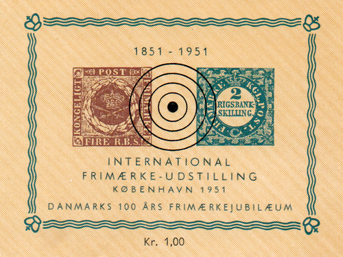 1951 Danish Stamp Centenary Souvenir Card