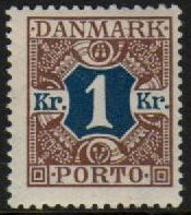 1921 Postage Due - 1 Kr Blue & Brown