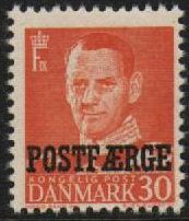 1949 30ø Orange 'POSTFÆRGE' Overprint