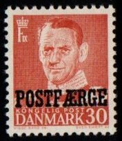 1955 30ø Red 'POSTFÆRGE' Overprint