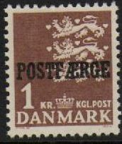 1950 1 Kr Brown 'POSTFÆRGE' Overprint