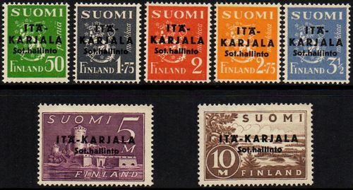 1941 Finnish Stamps Overprinted in Black (Type I)
