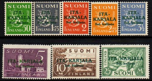 1941 Finnish Stamps Overprinted in Green