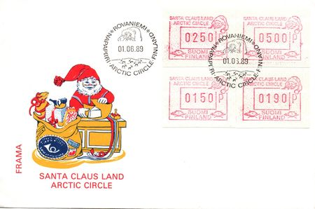 1989 Santa Claus FRAMA Labels (FDC)