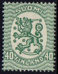 40p Blue Green Type I Perf 14