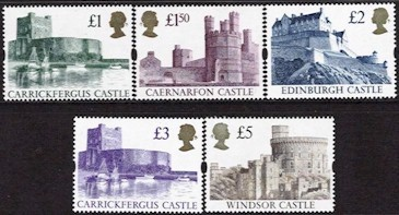 1992 - 95 Castle High Values (5v)