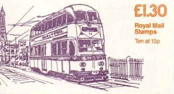 £1.30 Trams 3 Blackpool Right Selvedge