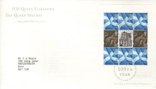 2000 Queen Mother Pane FDC
